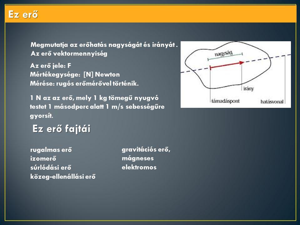 Ez erő . Megmutatja az erőhatás nagyságát és irányát . Az erő vektormennyiség. Az erő jele: F. Mértékegysége: [N] Newton.